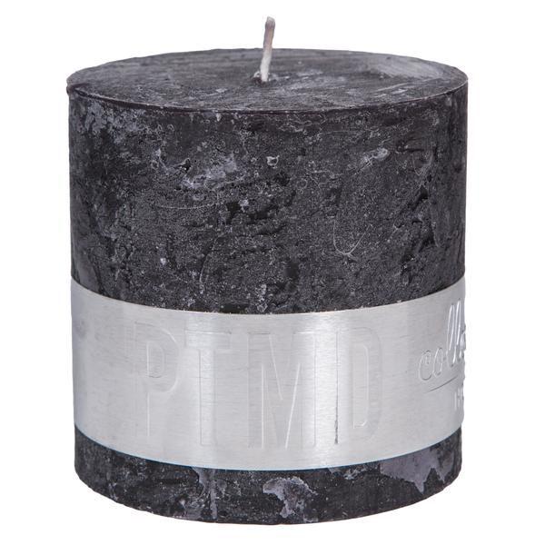 Rustic Charcoal black blok kaars 10x10